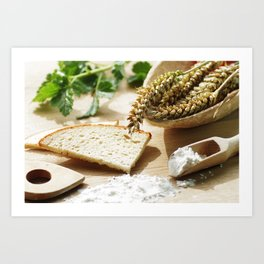 Fresh bread and wheat germ Art Print