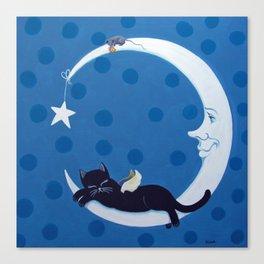 Black Kitten Moon Canvas Print