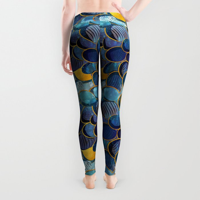 Abstract deep blue Leggings