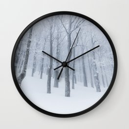 Snow covered frozen forest in winter Wall Clock