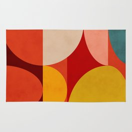 shapes of red mid century art Rug