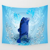 walrus Wall Tapestries featuring Cute walrus  by nicky2342