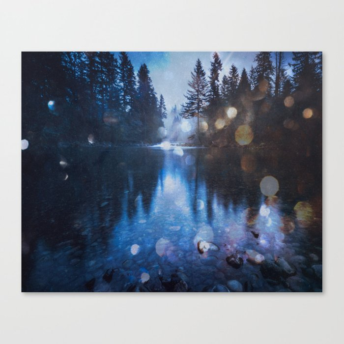 Magical Blue Forest Water Reflection Canvas Print