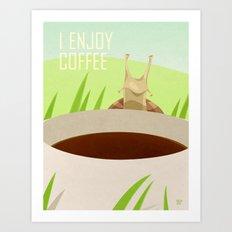 Snail Enjoys Coffee Art Print