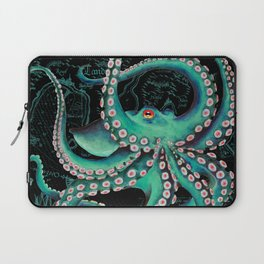 Teal Octopus Watercolor Vintage Map Dance Laptop Sleeve