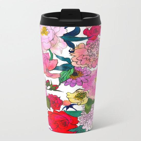 Peonies & Roses Metal Travel Mug