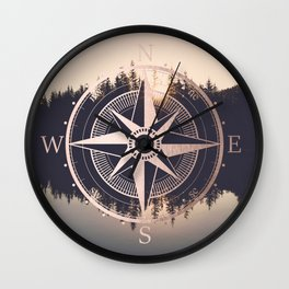 Rose Gold Compass Forest Wall Clock
