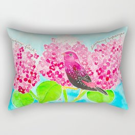 Strawberry Finch & Hydrangeas Rectangular Pillow