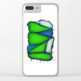 Crushed green Clear iPhone Case