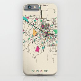 Colorful City Maps: Siem Reap, Cambodia iPhone Case