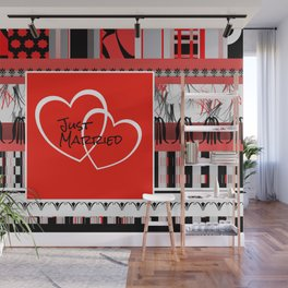 just Married Hearts red pattern II Wall Mural