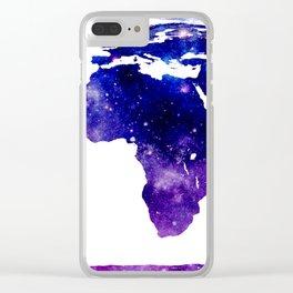 World Map Purple Blue Galaxy Clear iPhone Case