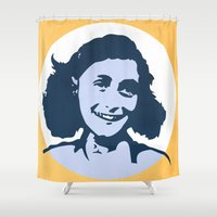 frank Shower Curtains featuring Anne Frank by mark ashkenazi