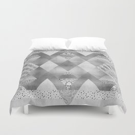 ETHNO Elegance in silver Duvet Cover
