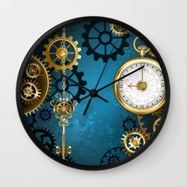 Turquoise Background with Gears ( Steampunk ) Wall Clock