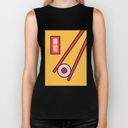 Sushi Minimal Japanese Food Chopsticks - Yellow Biker Tank