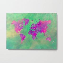 world map 117 green purple #worldmap #map Metal Print