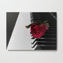 Contemporary Black & White Piano Keys Red Rose Art A509 Metal Print