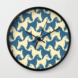 Dog Pattern | Schnauzer | M. C. Escher Inspired Artwork by Tessellation Art Wall Clock