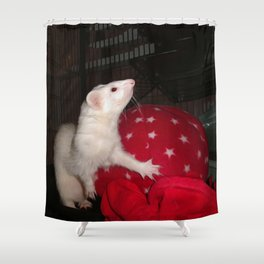 The Ivory Ferret and the Starry Red Bouncy House Shower Curtain