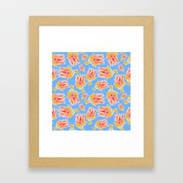 Australian Native Floral Pattern - King Protea Framed Art Print