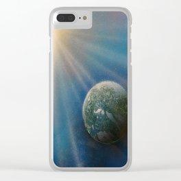 Sun Cross Earth Space Spray Paint Clear iPhone Case