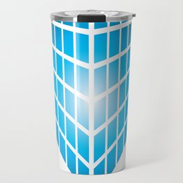 BLUE AND PURPLE SQUARES ON A WHITE BACKGROUND Abstract Art Travel Mug