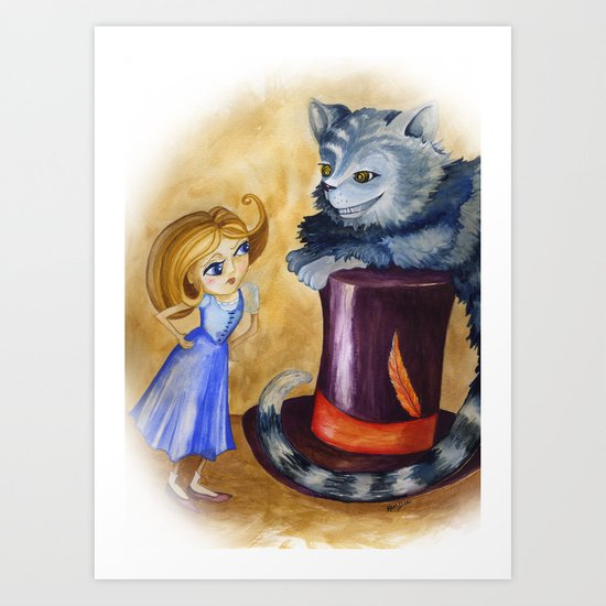 Chesire and Alice Art Print