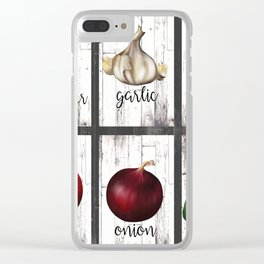 Rustic White Wood Herbs & Garden Vegetables Clear iPhone Case