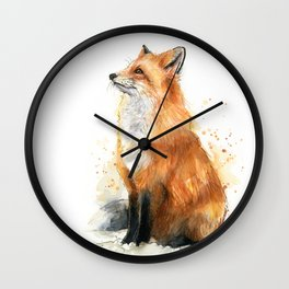 Fox Watercolor Red Fox Painting Wall Clock