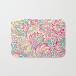 Pink Turquoise Girly Chic Floral Paisley Pattern Bath Mat