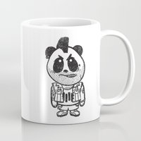 punk rock Mugs featuring Punk Rock Panda  by Team Rapscallion