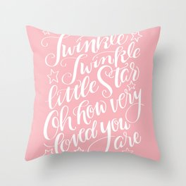 Twinkle Twinkle Little Star Pink Throw Pillow