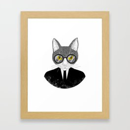 Funny Business Cat Kitten Shirt Gift For Cat And Meow Lovers Framed Art Print