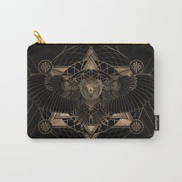 Owl in Sacred Geometry Composition - Black and Gold Carry-All Pouch