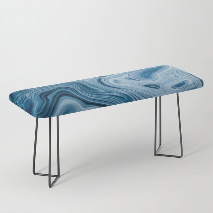 Splash of Blue Swirls, Digital Fluid Art Graphic Design Bench