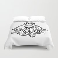 cthulhu Duvet Covers featuring Cthulhu by MyOwlHasAntlers