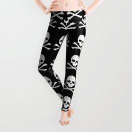 Skull and XBones in Black and White Leggings