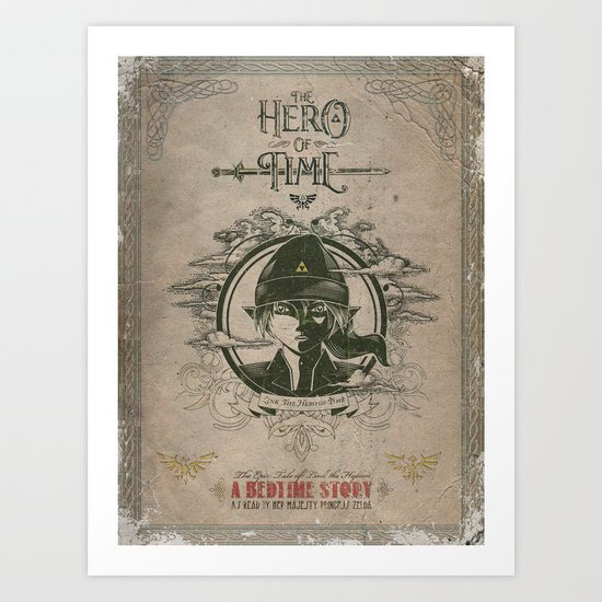Legend of Zelda Link the Hero of Time Vintage Book Cover Art Print
