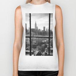 i love NY black and white Biker Tank