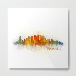 Phoenix Arizona, City Skyline Cityscape Hq v3 Metal Print