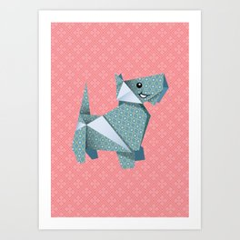 Origami Puppies With Pink Background Art Print