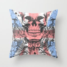 British flag with skull and bones Throw Pillow