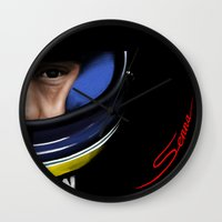 senna Wall Clocks featuring Senna Helmet Portrait by Borja Sanz