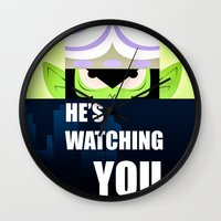 jojo Wall Clocks featuring Mojo Jojo Propaganda  by ArielPerrenot