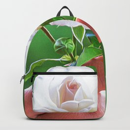 White flower held in hand with green background Backpack