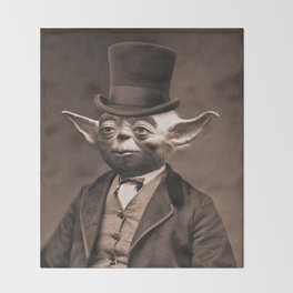 Portrait of Sir Yoda Throw Blanket