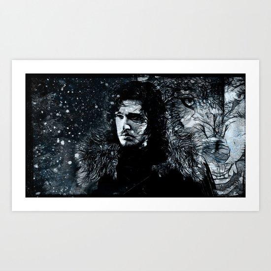 Winter's Coming Black Border Art Print