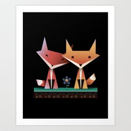 Loving Foxes Art Print
