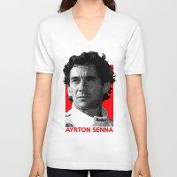 senna V-neck T-shirts featuring Formula One - Ayrton Senna by Vehicle